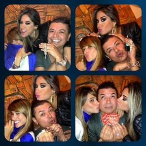 Ex-BBB Mayra Cardi com Dany Bananinha e David Brazil em churrascaria no Rio (Foto: Twitter/ Reprodução)