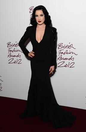 Dita Von Tesse em prêmio de moda em Londres, na Inglaterra (Foto: Ian Gavan/ Getty Images/ Agência)