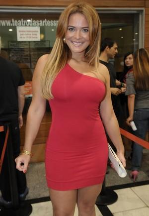 Geisy Arruda em pré-estreia de peça em São Paulo (Foto: Francisco Cepeda/ Ag.News)