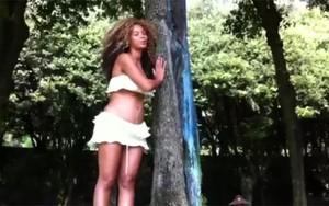 Beyoncé, grávida, ao lado de árvore 'Blue Ivy' (Foto: Reprodução)