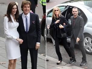 Paul McCartney com Nancy Shevell, e Ringo Starr com a mulher, Barbara Bach (Foto: Getty Images/Agência)