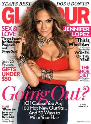 Jennifer Lopez na capa da edição de dezembro da revista 'Glamour' (Foto: Reprodução)