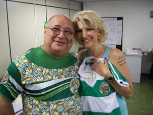 Antonia Fontenelle e Paulo Vianna, presidente da Mocidade (Foto: Divulgação)