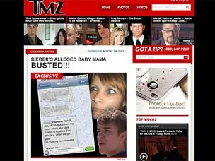 Site mostra supostas mensagens incriminadoras contra jovem que diz ser mãe do filho de Bieber (Foto: TMZ)