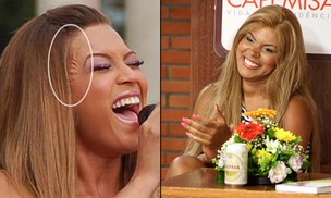 Beyoncé e Mulher Jaca com a mesma técnica de aplique para os cabelos (Foto: Reprodução/Divulgação Daniel Pinheiro)