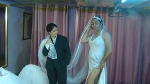 Thammy Gretchen e Julinho do Carmo em ensaio de peça (Foto: Divulgação)