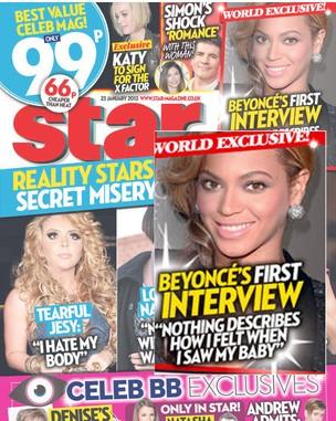 """Beyoncé na capa da revista """"Star"""" (Foto: Reprodução)"""