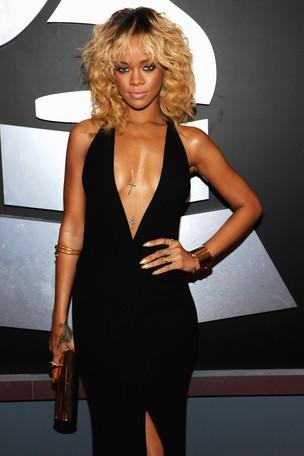 Rihanna no Grammy em Los Angeles, nos EUA (Foto: Getty Images/ Agência)