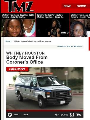 Video mostra van que levou corpo de Whitney Houston (Foto: TMZ / Reprodução)