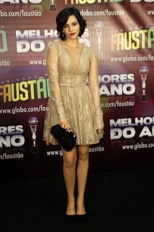 Taína Muller na gravação de 'Os Melhores do Ano' do Domingão do Faustão (Foto: Felipe Assumpção / AgNews)