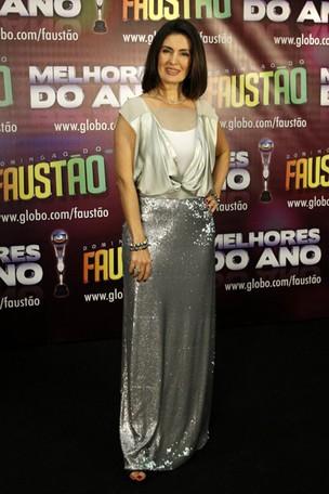 Fátima Bernardes na gravação de 'Os Melhores do Ano' do Domingão do Faustão (Foto: Felipe Assumpção / AgNews)