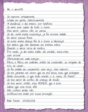 Poesia de Babi Xavier (Foto: Reprodução)