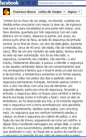 Francisco Bosco comenta no Facebook sobre episódio envolvendo Marcelo Faria (Foto: Facebook / Reprodução)