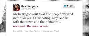 Eva Longoria posta no Twitter sobre acidente nos EUA (Foto: Twitter / Reprodução)