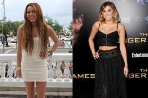 Miley Cyrus em outubro de 2011 e em março de 2012 (Foto: Gil Rodrigues/PhotoRioNews e Agência Getty)