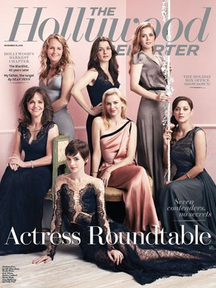 Helen Hunt,  Sally Field, Rachel Weisz, Anne Hathaway, Naomi Watts, Amy Adams e Marion Cotillard na capa da revista Hollywood Reporter (Foto: Hollywood Reporter/Reprodução)