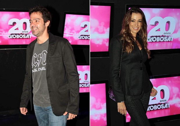Bruno Mazzeo e Mônica Martelli na festa de 20 anos da Globosat em São Paulo (Foto: Orlando Oliveira/ Ag. News)