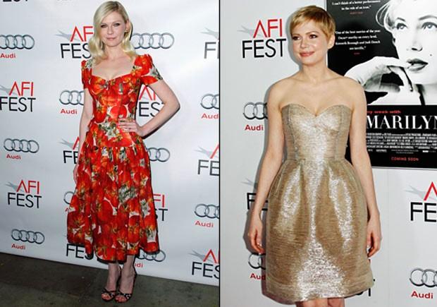 Kirsten Dunst e Michelle Williams no festival de cinema AFI em Hollywood, nos Estados Unidos (Foto: Reuters/ Agência)