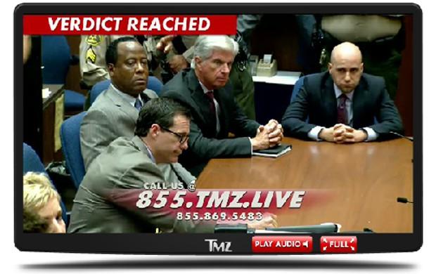 Conrad Murray ouve o veredito sem reação (Foto: TMZ / Reprodução)