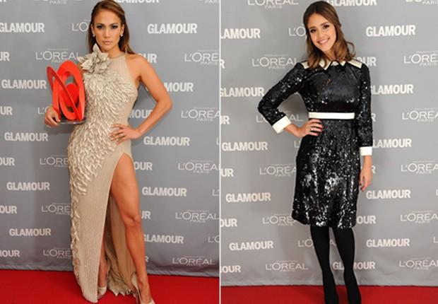 Jennifer Lopez e Jessica Alba em premiação da revista 'Glamour' em Nova York, nos Estados Unidos (Foto: Getty Images/ Agência)