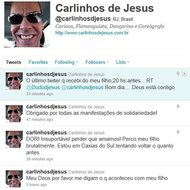 Carlinhos de Jesus desabafa no Twitter (Foto: Twitter)