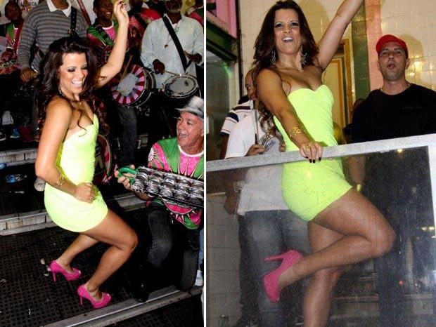 Renata Santos na quadra da Mangueira (Foto: Onofre Veras/AgNews)