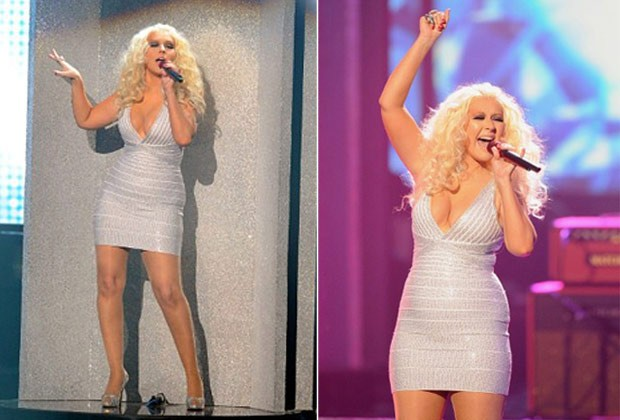 Christina Aguilera canta com o Marron 5 no American Music Awards em Los Angeles, nos Estados Unidos (Foto: AFP/ Agência)