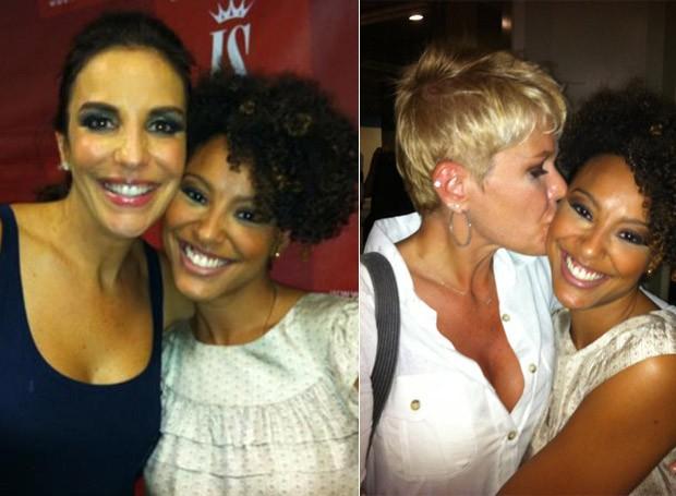 Sheron Menezzes com Ivete Sangalo e Xuxa (Foto: Reprodução/ Twitter)