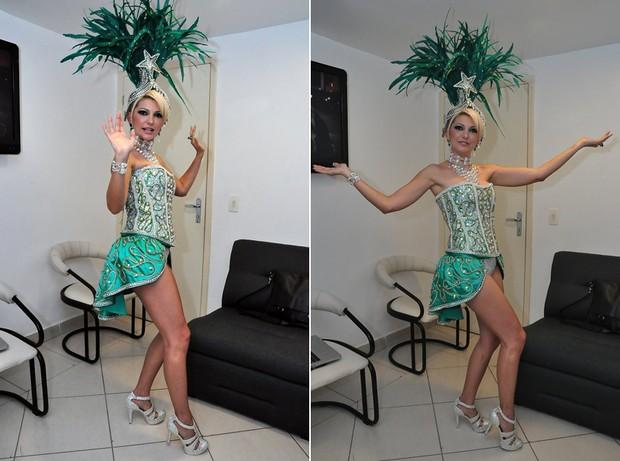 Antônia Fontenelle nos bastidores da gravação da vinheta de carnaval (Foto: Roberto Teixeira / EGO)
