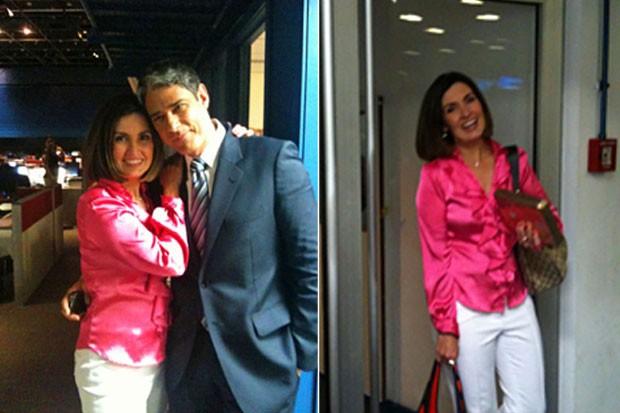 William Bonner e Fátima Bernardes na despedida dela do 'Jornal Nacional' (Foto: Twitter/ Reprodução)
