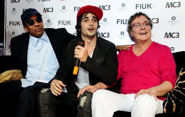 Jorge Benjor, Fiuk e Fábio Jr. no lançamento do CD 'Sou eu' em São Paulo (Foto: Francisco Cepeda/ Ag.News)