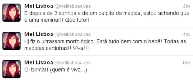 Mel Lisboa no Twitter (Foto: Reprodução/Twitter)