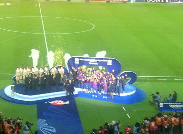 Shakira na final Santos x Barcelona (Foto: Reprodução/ Twitter)