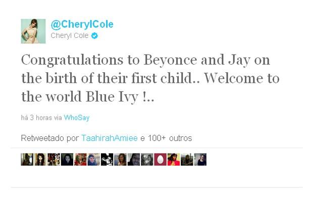 Cheryl Cole parabeniza Beyoncé e Jay-Z pelo nascimento da filha (Foto: Twitter / Reprodução)