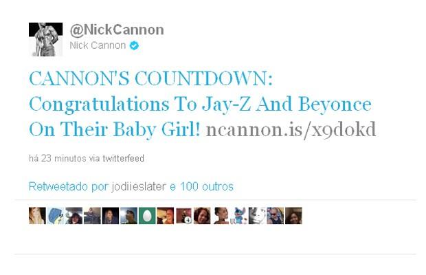 Nick Cannon parabeniza Beyoncé e Jay-Z pelo nascimento da filha (Foto: Twitter / Reprodução)
