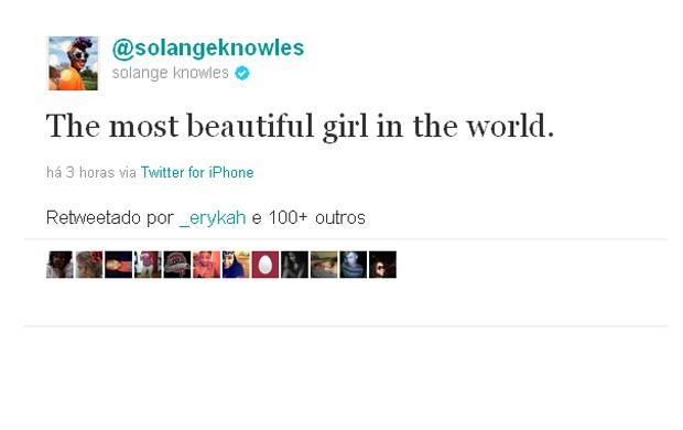 Solange Knowles parabeniza a irmã Beyoncé e Jay-Z pelo nascimento da filha (Foto: Twitter / Reprodução)