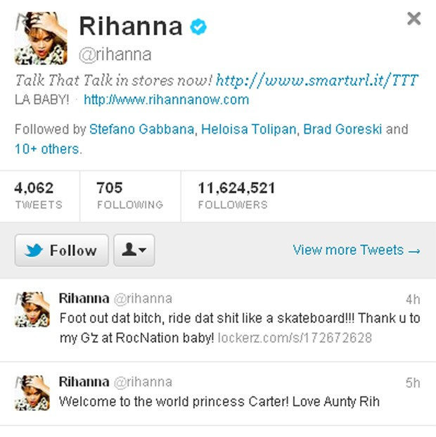 Twitter da Rihanna (Foto: Reprodução / Twitter)