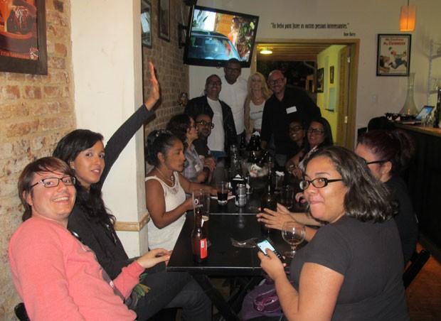 Amigos de Mayara em festa para a BBB em São Paulo (Foto: Felipe Abílio/ EGO)