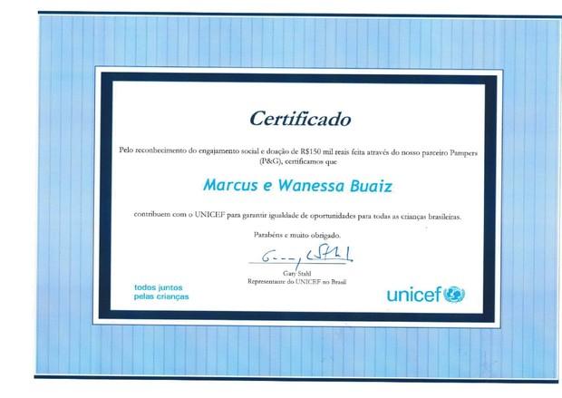 Certificado da doação do casal Wanessa e Marcus Buaiz ao Unicef (Foto: Reprodução)