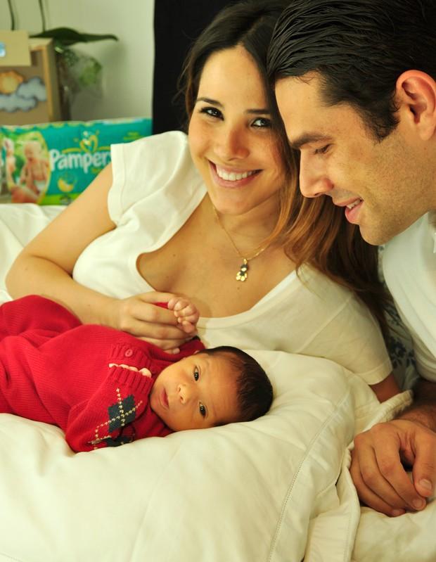 Wanessa e Marcus Buaiz com José Marcus em foto feita dentro da maternidade (Foto: Arquivo Pessoal)