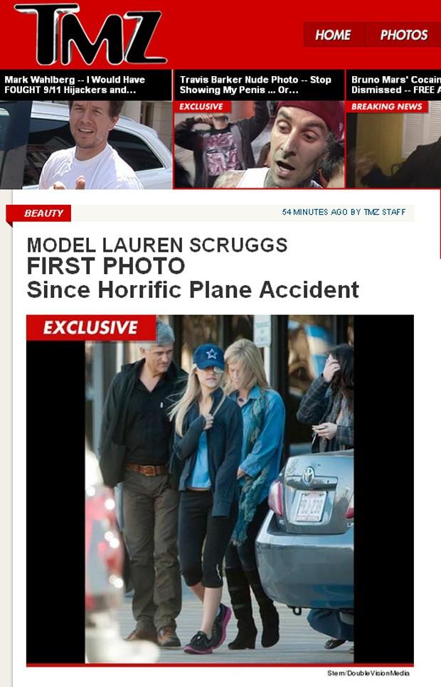 Primeira foto da modelo Lauren Scruggs após acidente com o avião (Foto: TMZ / Reprodução)