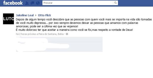 A mensagem de Jakeline no Facebook de Otto (Foto: Reprodução/Facebook)