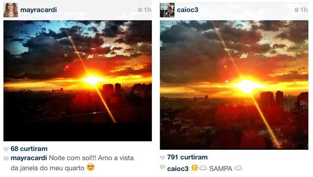Mayra Cardi e Caio Castro postam mesma foto no Instagram (Foto: Twitter / Reprodução)