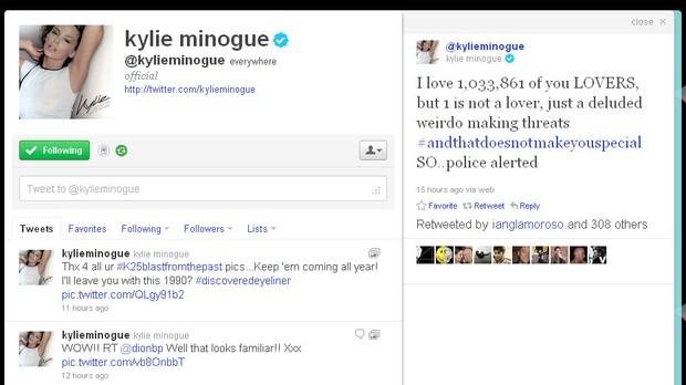 Twitter de Kylie Minogue (Foto: Reprodução/Twitter)