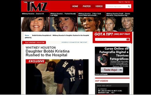 Whitney Houston TMZ (Foto: Reprodução / TMZ)