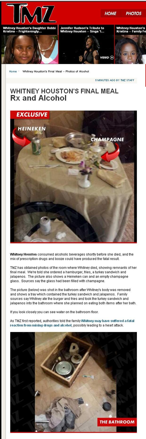 Fotos do quarto de hotel onde Whitney morreu (Foto: TMZ / Reprodução)