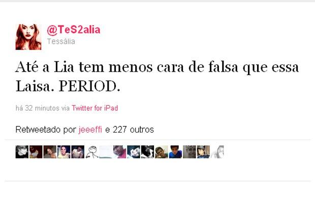 O tweet que iniciou a discussão entre Tessália e Lia Khey (Foto: Twitter / Reprodução)