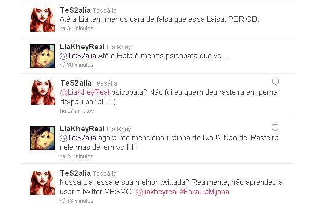 Tessália e Lia Khey discutem no Twitter (Foto: Twitter / Reprodução)