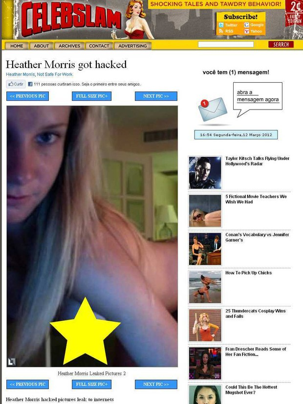 Heather Morris, de 'Glee' (Foto: Reprodução/Celebslam)