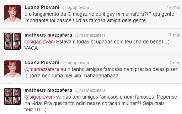 Luana Piovani e Matheus Mazzafera trocam farpas pelo Twitter (Foto: Twitter / Reprodução)